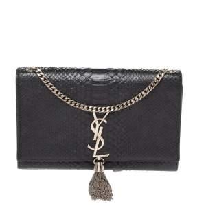 حقيبة كتف سان لوران كاتي شراشيب متوسطة جلد ثعبان سوداء