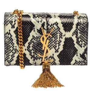 Saint Laurent Black/White Python Small Kate Tassel Shoulder Bag