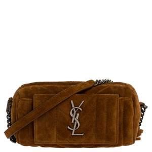 Saint Laurent Brown Suede Crossbody Bag