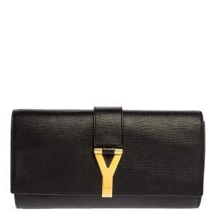 Saint Laurent Black Leather Y Line Clutch