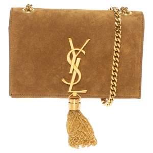 Saint Laurent Tan Suede Small Kate Tassel Crossbody Bag