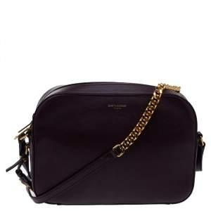 Saint Laurent Burgundy Leather Lou Camera Crossbody Bag