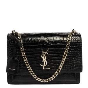 Saint Laurent Black Croc Embossed Leather Medium Sunset Shoulder Bag