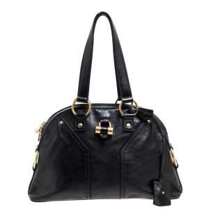 Saint Laurent Black Leather Muse Satchel