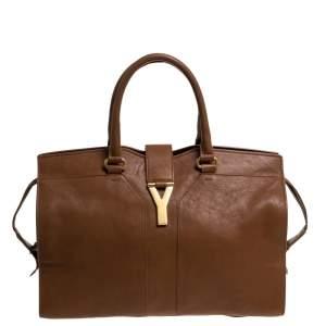 Saint Laurent Tan Leather Medium Cabas Ligne Y Tote