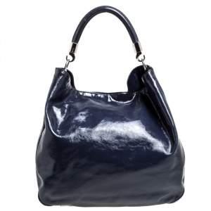 Saint Laurent Dark Indigo Patent Leather Large Roady Hobo