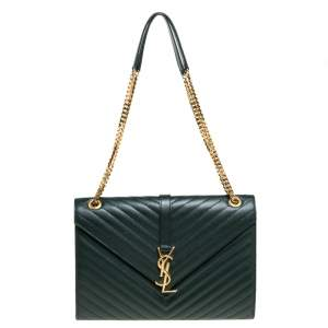 Saint Laurent Green Chevron Quilted Leather Monogram Envelope Shoulder Bag
