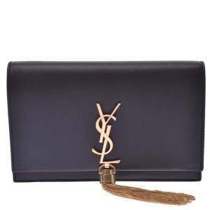 Saint Laurent Paris Black Leather Kate Shoulder Bag