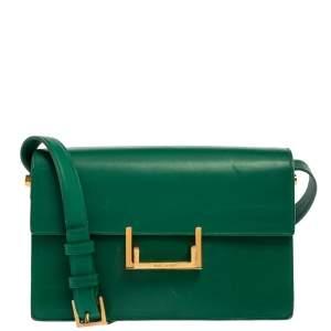 Saint Laurent Green Leather Medium Lulu Shoulder Bag