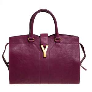Yves Saint Laurent Burgundy Leather Medium Cabas Y-Ligne Tote