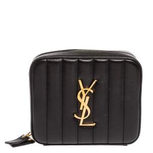 Saint Laurent Paris Black Quilted Leather Vicky Belt Bag