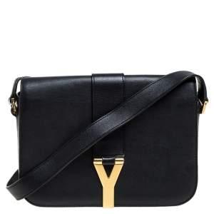 Saint Laurent Black Leather Ligne Y Shoulder Bag