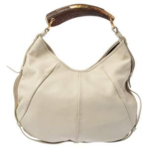 Yves Saint Laurent White Leather Vincennes Mombasa Hobo