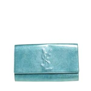 Saint Laurent Mint Green Patent Leather Belle De Jour Flap Clutch