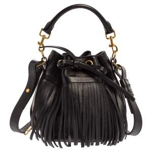 Saint Laurent Black Leather Small Emmanuelle Fringed Bucket Bag
