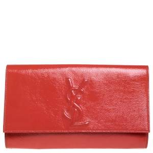 Yves Saint Laurent Orange Patent Leather Belle De Jour Flap Clutch