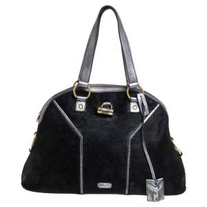 Saint Laurent Black/Grey Calfhair and Leather Large Muse Bag