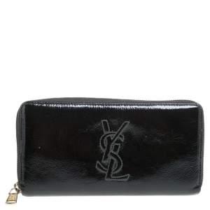 Saint Laurent Black Patent Leather Bell De Jour Zip Around  Wallet