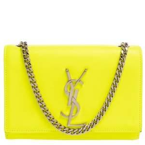 Saint Laurent Neon Green Leather Small Monogram Kate Shoulder Bag