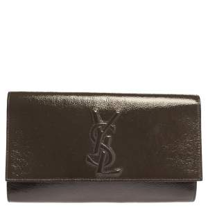 Yves Saint Laurent Khaki Patent Leather Belle De Jour Flap Clutch