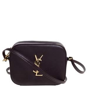 Saint Laurent Burgundy Grained Leather Mini Monogram Camera Bag