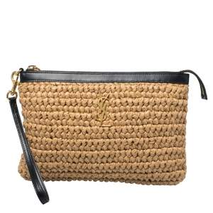 Saint Laurent Beige/Black Straw and Leather Wristlet Clutch