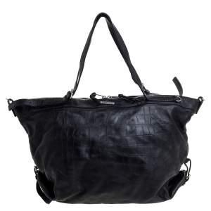 Saint Laurent Paris Black Croc Embossed Leather Bag