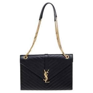 حقيبة سان لوران باريس قلاب كاساندريه كبيرة جلد مبطنة سوداء