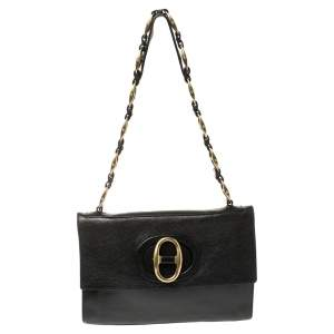 Saint Laurent Black Leather Vintage Buckle Shoulder Bag