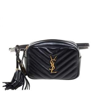 Saint Laurent Black Leather Monogram Loulou Belt Bag