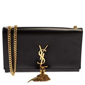 Saint Laurent Black Leather Medium Kate Tassel Shoulder Bag
