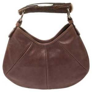 Saint Laurent Brown Leather Small Mombasa Hobo