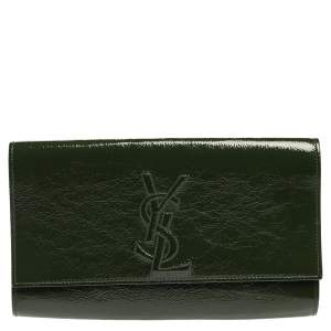 Saint Laurent Green Patent Leather Belle De Jour Flap Clutch
