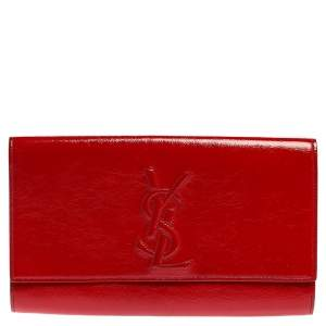 Yves Saint Laurent Red Patent Leather Belle De Jour Flap Clutch