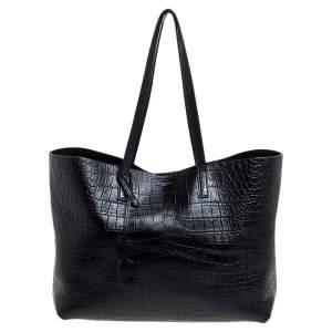 Saint Laurent Black Croc Embossed Leather Shopper Tote