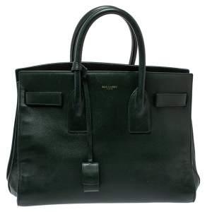 حقيبة يد سان لوران باريس ساك دو جور كلاسيك صغيرة جلد خضراء داكنة