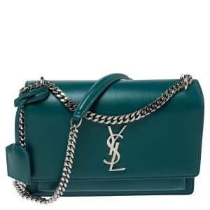 Saint Laurent Green Leather Medium Sunset Shoulder Bag