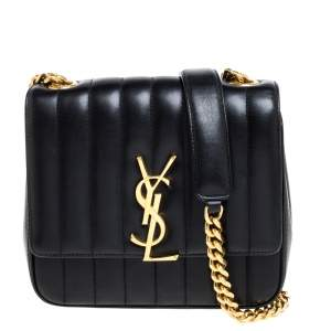 Saint Laurent Black Quilted Leather Small Vicky Shoulder Bag