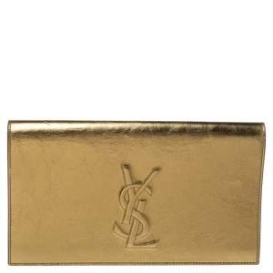 Saint Laurent Metallic Gold Leather Belle De Jour Clutch