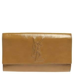 Saint Laurent Beige Patent Leather Belle De Jour Flap Clutch