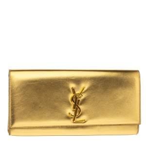 Saint Laurent Gold Patent Leather Kate Monogram Clutch