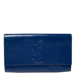 Saint Laurent Blue Patent Leather Belle De Jour Flap Clutch