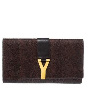 Saint Laurent Brown Textured Leather Classic Y-Line Clutch