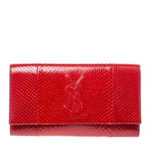 Yves Saint Laurent Red Python Belle De Jour Flap Clutch