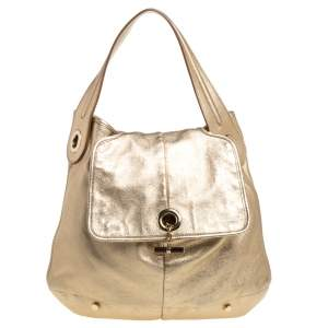 Yves Saint Laurent Metallic Gold Leather Capri Hobo