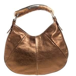 Saint Laurent Bronze Leather Mini Mombasa Hobo