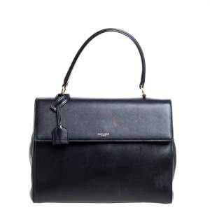 Saint Laurent Black Leather Medium Moujik Top Handle Bag