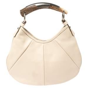 حقيبة هوبو سان لوران موباسا مينى جلد عاجية
