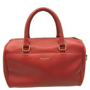 Saint Laurent Paris Red Leather Baby Classic Duffle Bag