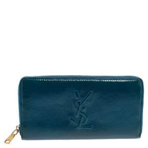 Saint Laurent Blue Patent Leather Belle De Jour Zip Around  Wallet